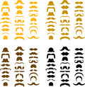 Groups of moustache design graphics assorted sets many silhouettes in different colors Stock Photography