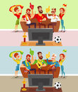 Groups of people watching a football match on TV