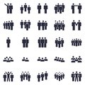 Groups of persons icon. Business team person, office teamwork people symbol and work group isolated silhouette icons