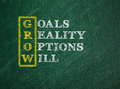 Grow acronym the goals reality options will on a green chalkboard Stock Images