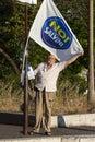 Grow italian man exposes a political flag