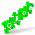 Grow Puzzle Shows Maturity And Growth Royalty Free Stock Photos