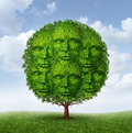 Growing community group as a tree with green leaves shaped as a connected network of human heads as a social partnership working Royalty Free Stock Photo