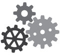 Growing gears gear icon vector icon Stock Images