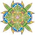 Growing marijuana leaf kaleidoscope symbol
