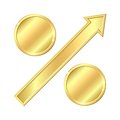 Growing percentage sign with gold coins. Stock Photo