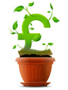 Growing pound symbol like plant with leaves in flo stylized shape of sterling sign ground qualitative vector eps concept for Stock Photos