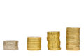 Growing row of coins stacks isolated on white background Stock Image