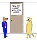 Growl hiss conflict meeting business cartoon of business dog and business cat about to enter resolution Stock Photos