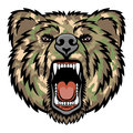 Growling bear a head logo military style this is illustration ideal for a mascot and tattoo or t shirt graphic Royalty Free Stock Images