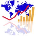 Growth bar graph and arrow represent profit in the business with world background Royalty Free Stock Photography