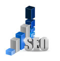 Growth bar graph of seo technology illustration design over white Stock Photography