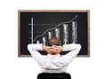 Growth char man looking on blackboard with chart Royalty Free Stock Photos