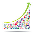 Growth chart and prgresso leading to success Royalty Free Stock Photos