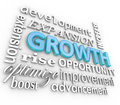 Growth d word background collage growing rising increase the in blue letters with other related terms such as development Stock Image