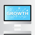 Growth word with icon on monitor infographic and illustration design