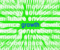 Growth word shows progress gain and expansion showing Stock Image