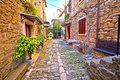 Groznjan cobbled street and old architecture view Royalty Free Stock Photo