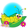 Grub on leaves with flowers - Kids illustration Stock Photo