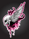 Grudge Skull with Wing Stock Photo