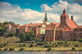 Grudziadz hill aline of granaries view town on the vistula river poland Stock Photography
