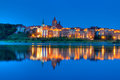Grudziadz at night with Wisla river Royalty Free Stock Images