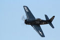 Grumman f f bearcat a performing a very low flyby at about mph Royalty Free Stock Images