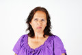 Grumpy middle age woman irritated and upset aged Stock Photos
