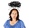 Grumpy woman with dark cloud middle aged over head Stock Image