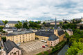 Grund district of luxembourg city view on the with neumuenster abbey and alzette river Stock Images