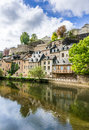 Grund luxembourg city beautiful old buildings reflected in the water in Royalty Free Stock Image
