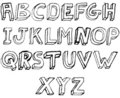 Grunge 3D Alphabet in black and white Royalty Free Stock Photography