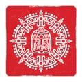 Grunge american aztec, mayan culture symbol design