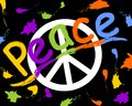 Grunge anti war flyer with anti war symbol in hippies retro style. Rainbow inscription peace and colorful spray splashes