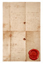 Grunge antique paper sheet with red wax seal isolated on white background Stock Photos