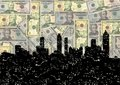 Grunge Atlanta skyline with dollars Stock Images