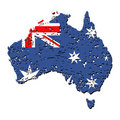 Grunge Australia map flag Stock Photo