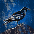 Grunge background with crow vector Royalty Free Stock Image