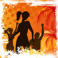 Grunge background with dancing people orange palm Royalty Free Stock Images