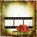 Grunge background with film frame and roses Royalty Free Stock Image