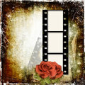 Grunge background with film frame and roses Royalty Free Stock Photography