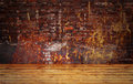 Grunge background floor and brick wall Royalty Free Stock Images