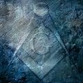 Grunge background with freemason sign