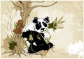 Grunge background with panda Royalty Free Stock Photo