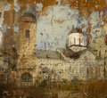 Grunge background photo of orthodox monastery Royalty Free Stock Photo