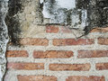 Grunge background red brick wall texture and blocks road sidewalk Royalty Free Stock Photo