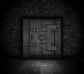 Grunge bank vault style door in a dark interior Royalty Free Stock Photos