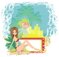 Grunge banner with palm trees and sexy girl Royalty Free Stock Photo
