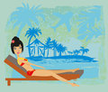 Grunge banner with palm trees and girl Royalty Free Stock Photo