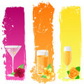 Grunge banners with drinks and flowers Royalty Free Stock Photo